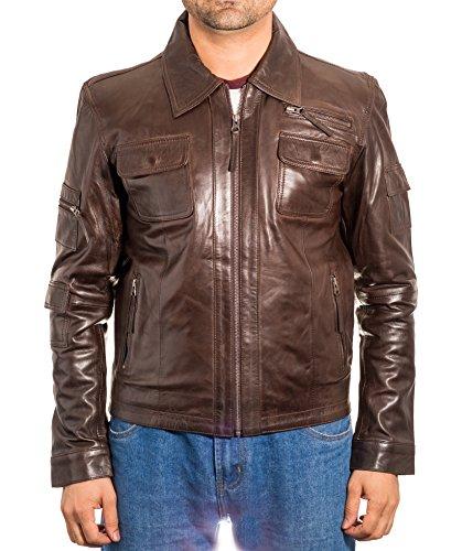 Oscuro camisa fijaci—n de cuero cremallera con Smart Smart chaqueta de de Cuello del motorista con la de Marron pwEfqET