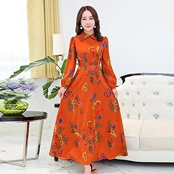 XIU*RONG Vestidos De Verano Manga Larga Falda Vestidos Florales Collar Sello Manga Linterna M