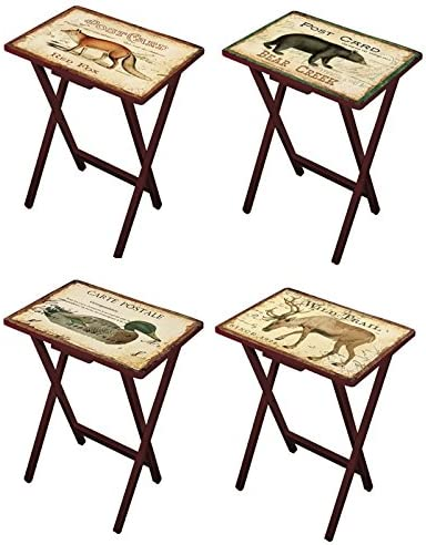 Cape Craftsmen Lodge Postcards TV Trays with Stand, Set of 4