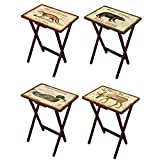 Cape Craftsmen Lodge Postcards Wooden Folding TV Tray Set with Stand, Set of 4 – Tray: 19.5″ W x 14.5″ D x 25.5″ H. Stand: 19″ W x 14″ D x 32″ H