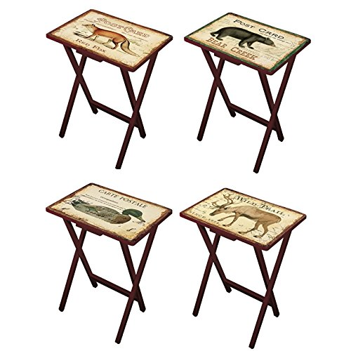 Cape Craftsmen Lodge Postcards TV Trays with Stand, Set of 4 (Tv Unique Trays)
