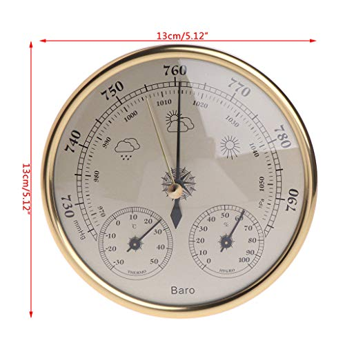 Temperature Gauges - Wall Mounted Household Barometer Hanging 970 1400hpa Gold Color Round Dial Air Weather Station 1pc - Automotive Indoor Large Barbecue Fridge Motorcycles Barometer Temperat - Smokers Station Wall