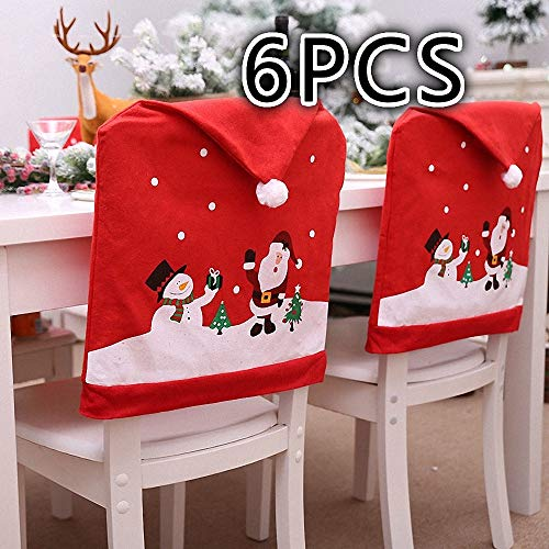 (Santa Claus Cap Chair Cover Set of 4 PCS Snowman Red Hat Chair Back Covers Non Woven Chair Back Cover Sets Christmas Dinner Decorations (6pcs))