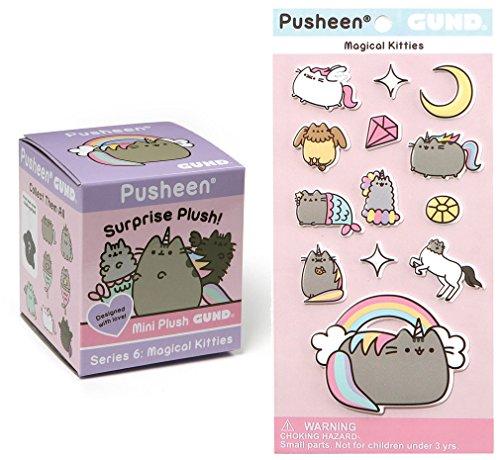 (Gund Pusheen Blind Box Surprise Series #6 - Magical Kitties Keychain Plush with Magical Kitties Puffy Stickers)