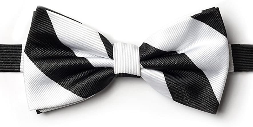 Black /& Silver Striped Pattern Jacquard Banded Bow Tie