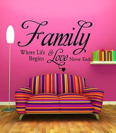 Amazon.com: Wall Sticker Decal Family Love Quote Home Blessing ...