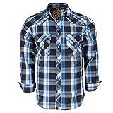 Coevals Club Men's Snap Button Down Plaid Long Sleeve Work Casual Shirt (Black & Blue #19, L)