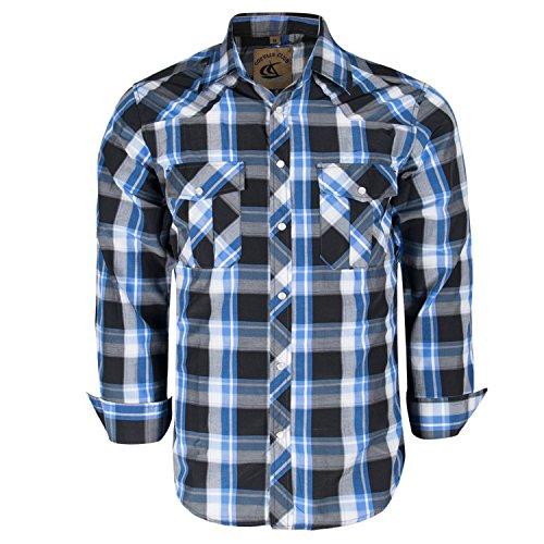 Coevals Club Men's Snap Button Down Plaid Long Sleeve Work Casual Shirt (Black & Blue #19, XL)