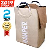 SEMK Hamper Laundry Basket Laundry Hamper Laundry Bag Dirty Clothes Hamper Dokehom College Hamper Dorm Collapsible Easy Carry Folding Tall Clothing Hamper Handy Standing