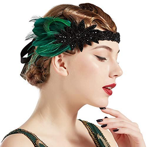 BABEYOND Vintage 1920s Flapper Headband Roaring 20s Great Gatsby Headpiece with Feather 1920s Flapper Gatsby Hair Accessories (Darkgreen)