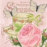 Matinee Paper Luncheon Napkins 40pcs Tea Party, Tea Cup with Rose and Butterflies Decoupage