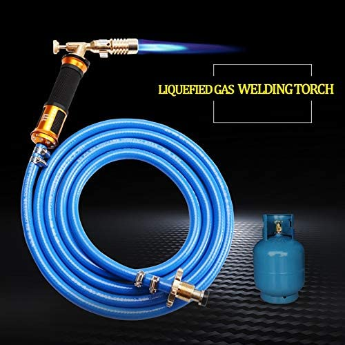 Pceewtyt Electronic Ignition Liquefied Gas Welding Torch Kit with Hose for Soldering Cooking Brazing Heating Lighting