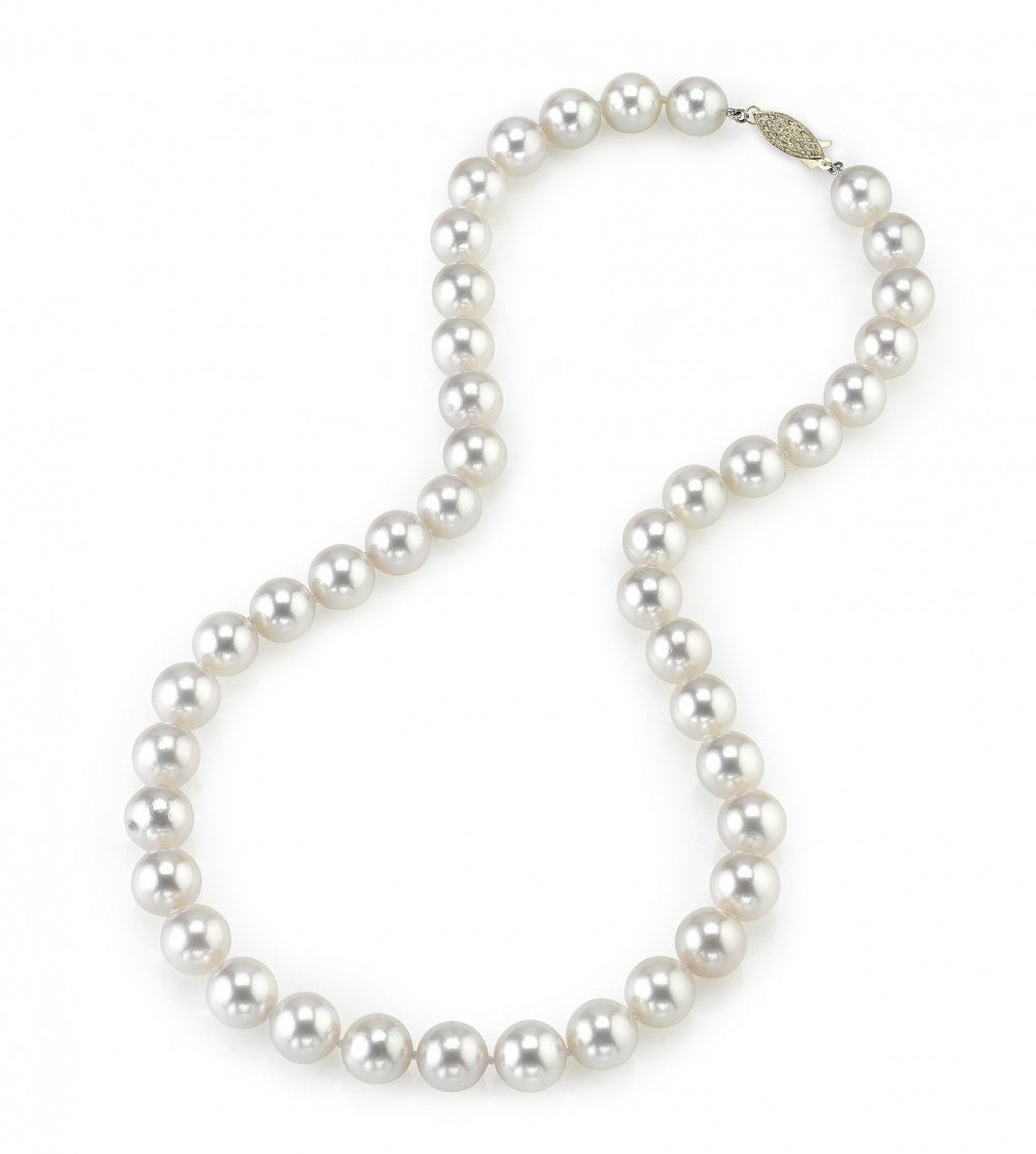 14K Gold 9.0-9.5mm Japanese Akoya Saltwater White Cultured Pearl Necklace - AAA Quality, 18'' Length