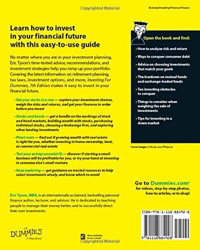 Investing For Dummies: Eric Tyson: 9781118884928: Amazon com
