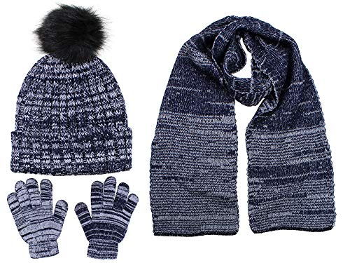 - Polar Wear Boys Knit Hat, Scarf And Gloves Set With Fur Pompom- Blue