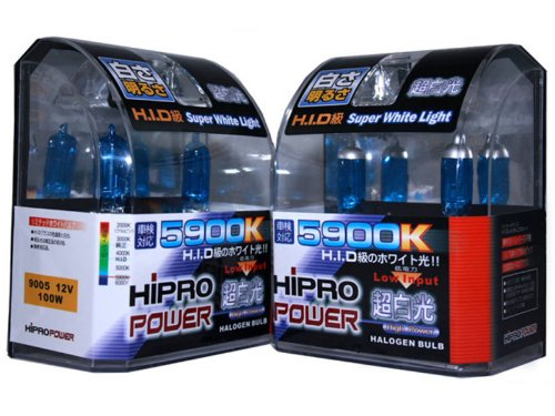 Gas Hid Headlight Light Bulbs (Hipro Power 9005 + 9006 5900K 100 Watt Super White Xenon HID Headlight Bulbs - Low & High)