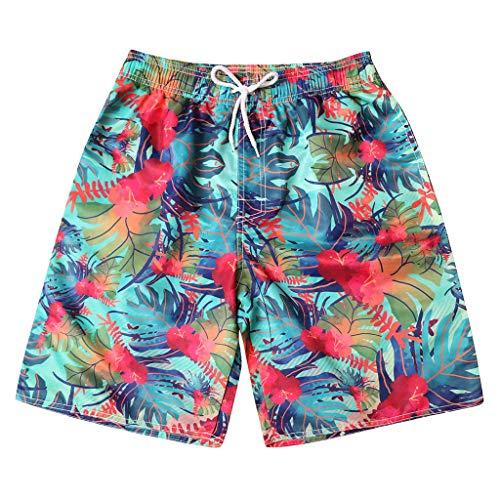 - Beach Shorts Slim Fit Quick Dry Swim Trunks with Pockets Printed Shorts Mesh Lining Couple Swimwear Boy Shorts Blue