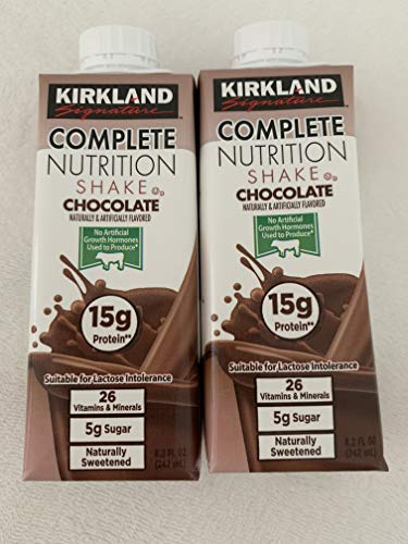 Kirkland S, Complete Nutrition (Lactose Intolerance) Chocolate Shake 8.2 oz Each Drink (Pack of 2)