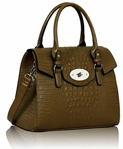 "Womens Mock Croc Twist Lock Satchel Handbag (13"" X 10"")"