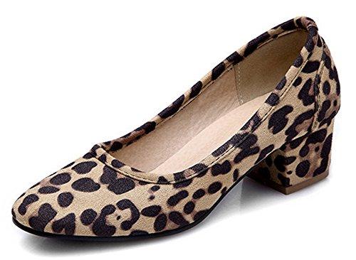 Easemax Womens Fashion Sweet Square Toe Low Cut Slip On Chunky Kitten Heel Pumps Shoes Leopard iduHh