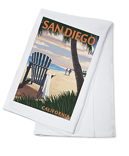 - San Diego, California - Adirondack Chair on the Beach (100% Cotton Kitchen Towel)