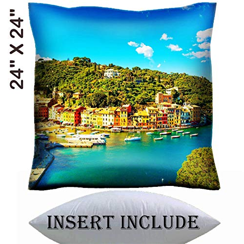 24x24 Throw Pillow Cover with Insert - Satin Polyester Pillow Case Decorative Euro Sham Cushion for Couch Bedroom Handmade IMAGE ID: 27718089 Portofino luxury landmark aerial panoramic view Villag