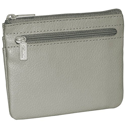 Buxton Genuine Leather Coin & Card Case Zip Wallet (Grey)