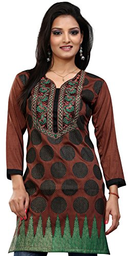 India Tunic Top Long Kurti Womens Embroidered Indian Clothing (Brown, XS)