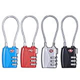 TSA Luggage Lock 3 Dial Combination Travel Padlock for School Gym Locker,Suitcase Baggage Locks,Cabinets,Toolbox,Gun Case,Backpack (Pack of 4,Mixed Color)