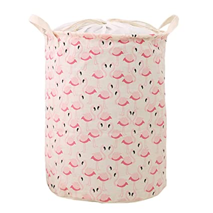 90f7f704 Large Laundry Basket with Drawstring Cover,Waterproof Round Cotton Linen  Laundry Hamper,Collaspsible Kids