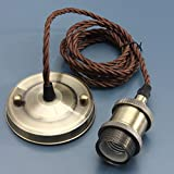 KINGSO Vintage Hanging Pendant Light Kit Modern Retro Industrial Style E27 Base Brass Lamp Holder 2 Meter 3-wire Cord Twisted Fabric Cable Ceiling Rose with VDE certificate Bronze