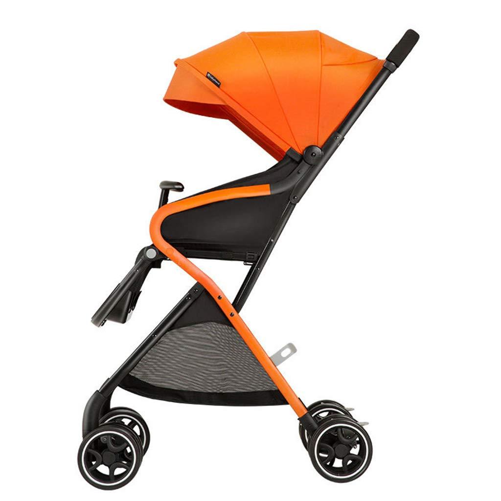 naranja Bicicletas Cochecito para Niños Triciclo para Niños Niños Cochecito Plegable De Alto Paisaje para Niños De 0-3 Años Carrito De Viaje (Color   naranja, Talla   49  76  108cm) 4976108cm