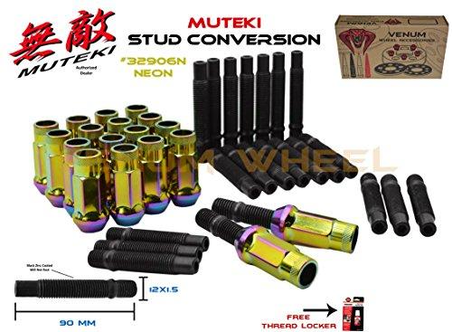 Neon Conversion Kit - Neon SR48 Muteki 32906N Lug Nuts + 12x1.5 90mm Long Black Stud Conversion Kit For BMW Vehicles M12x1.5 (Replaces Lug Bolts)