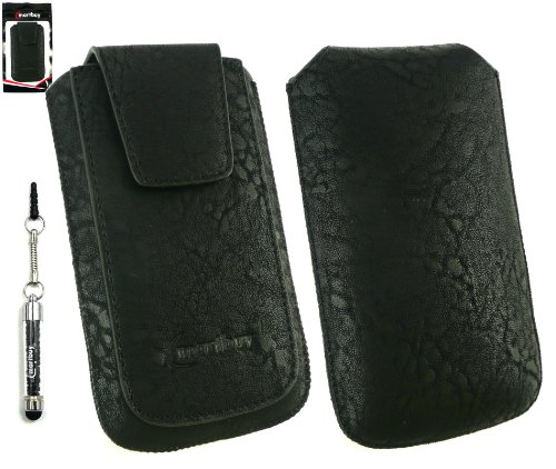 Emartbuy® Sparkling Stylus Pack Para Nokia Asha 210 Classic Range Negro De Lujo De La Pu De Diapositivas De Cuero En La Bolsa / Caja / Carcasa / Manga / Titular (Tamaño Xl) Con Magnético De La Aleta &
