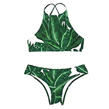 Wowforu Women's Two-piece Forest Leaves Printing Tank Padding Bikini Set