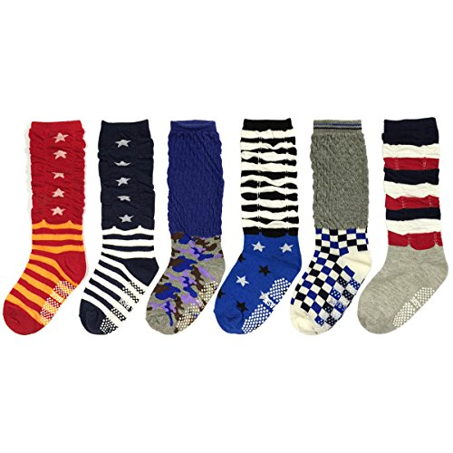 Wrapables Boys Casual Scrunch Socks (Set of 6), Set 1