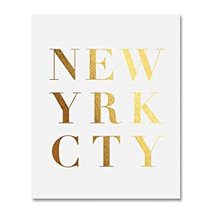 New York City Gold Foil Print City Urban Art Manhattan New Yrk Cty Wall Decor Art Brooklyn Queens Bronx Office 8 inches x 10 inches