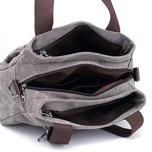 de sac à spatiale tissu Département Nouveau main sac Sen simple couches plusieurs diagonale toile à de en paquet tissu Gris banlieusard femme la tissu LANDONA de toile 8gTRqOW1q