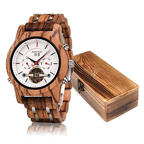 (Mens Wooden Mechanical Watches Multifunction Date & Chronograph Business Luxury Wood Watch for Men)