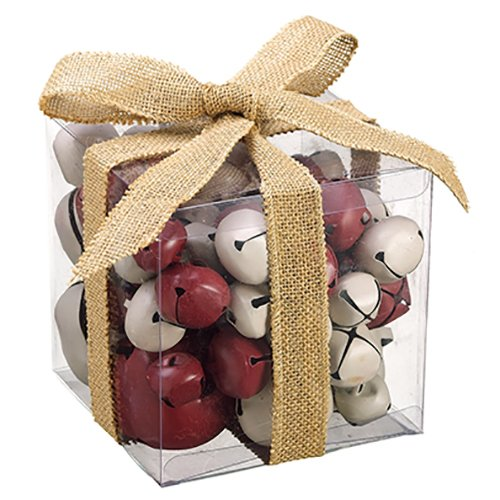 SilksAreForever 6'' Hx6 Wx6 L Artificial Boxed Assorted Jingle Bell -Red/White (Pack of 4)