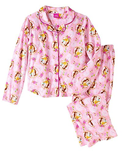 Girls Disney Beauty and The Beast Belle Pink Brushed 2 pc Pajama Set (6-6X)