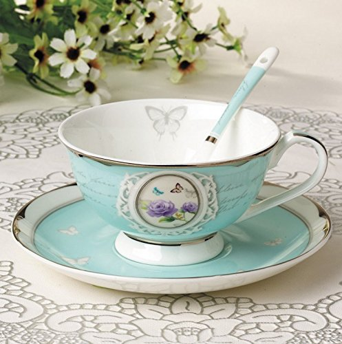 Jsaron China Porcelain Teacup Saucer Boxed Set, Blue Rose
