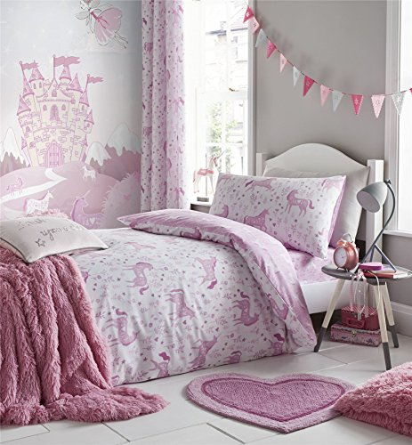 72d6c018e9215 UNICORNS FLOWERS LEAVES WHITE PINK COTTON BLEND USA TWIN (COMFORTER COVER  135 X 200 - UK SINGLE) (FITTED SHEET - 90 X 190CM + 25 - UK SINGLE) 3 PIECE  ...