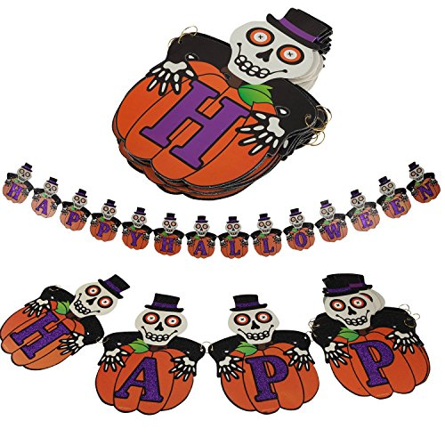 1 Set Happy Halloween Hanging Pumpkin Bunting Skull Glitter Letters Banner Flag for Spooky Halloween Party Decorations