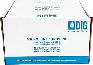 "DIG Corporation Drip Line 500', 6"" Emitter Spacing, 1/4"" .52 GPH, Color : Black - Drip Irrigation Tubing (.170 ID x 240 OD)"