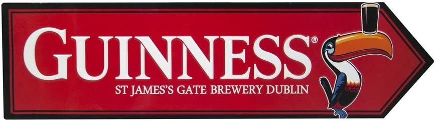 Guinness Toucan James Gate Road Sign, Red - Aluminum Metal Wall Decor