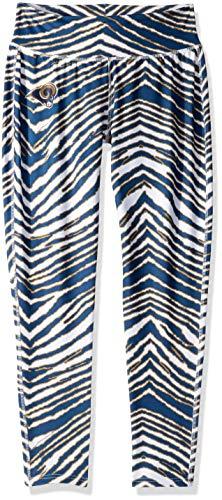 (Zubaz NFL St. Louis Rams Women's Zebra Print Leggings Pants, Large, Navy/Metallic Gold)