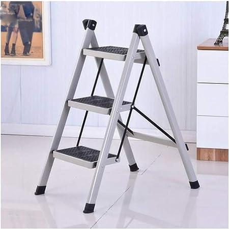XuQinQin Escalera plegable Escalera de tubo de hierro for el hogar Taburete Escalera de engrosamiento de aleación de aluminio multifuncional Espesamiento interior Plegable Escalera de tres escalones T: Amazon.es: Hogar
