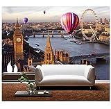3D Wallpaper Murals Wallpaper Modern 3D Photo Custom Retro London Street Mural Wallpaper European Living Room Backdrop Hot Air Balloon Mural Silk Cloth 200X140cm,Ayzr