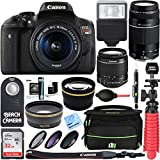 : Canon T6i EOS Rebel DSLR Camera w/ EF-S 18-55mm & 75-300mm III Lens Kit + Accessory Bundle 64GB SDXC Memory + SLR Photo Bag + Wide Angle Lens + 2x Telephoto Lens + Flash + Remote + Tripod & More